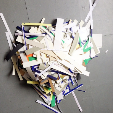 Pile of scraps from postcard making