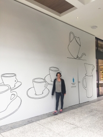 Opening Soon in Los Angeles for Blue Bottle Coffee (Elizabeth included for scale!)