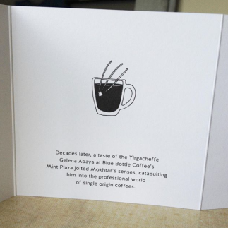 Accordion fold booklet for Blue Bottle Coffee